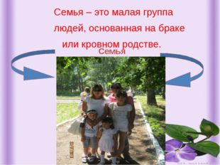Семья – это малая группа людей, основанная на браке или кровном родстве. Сем