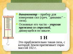 """динамометр – прибор для измерения сил (греч. """"динамис"""" – сила). Основные его"""