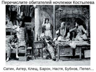 Перечислите обитателей ночлежки Костылева Сатин, Актер, Клещ, Барон, Настя, Б
