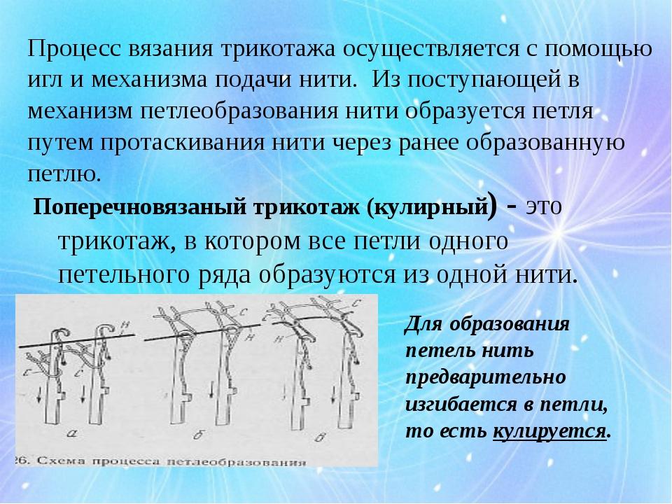 Процесс вязания трикотажа осуществляется с помощью игл и механизма подачи нит...