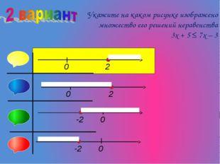 Укажите на каком рисунке изображено множество его решений неравенства 3x + 5