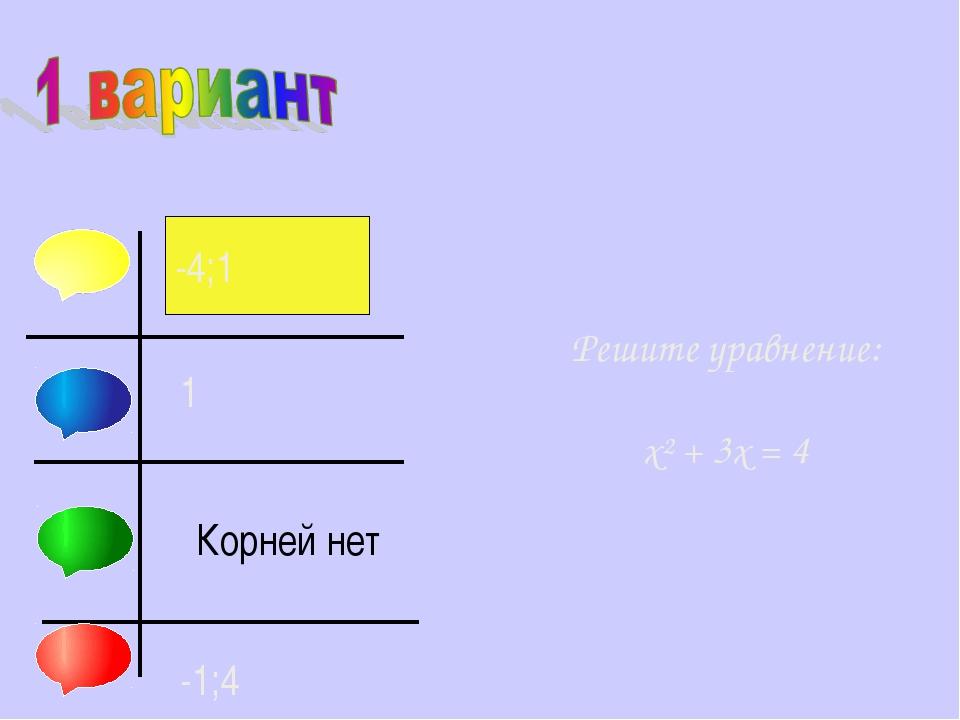 Решите уравнение: х² + 3х = 4 -4;1 1 Корней нет -1;4