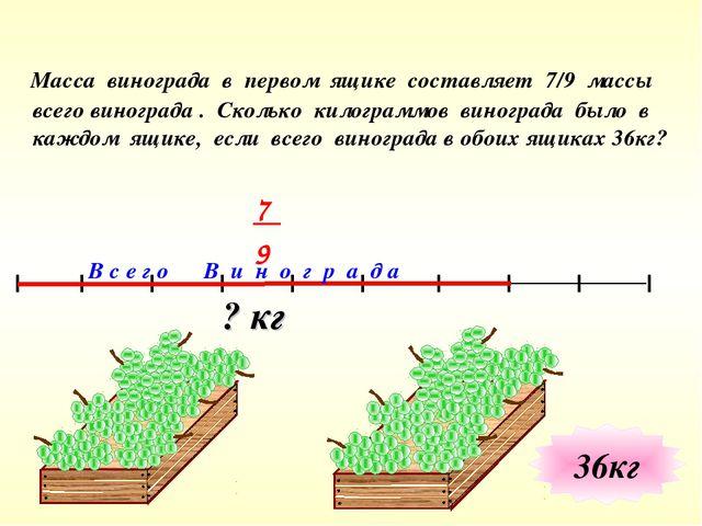 ? кг В с е г о В и н о г р а д а Масса винограда в первом ящике составляет 7/...