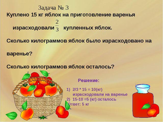Куплено 15 кг яблок на приготовление варенья израсходовали купленных яблок. С...