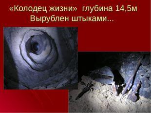 «Колодец жизни» глубина 14,5м Вырублен штыками...
