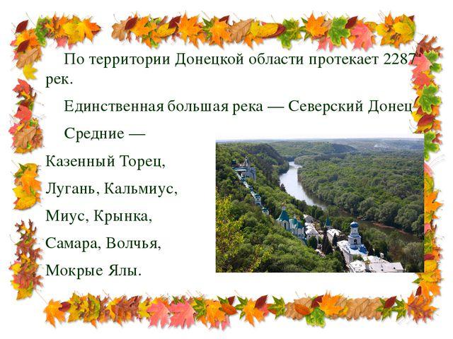 По территории Донецкой области протекает 2287 рек. Единственная большая рек...