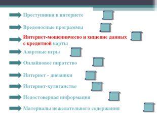 Преступники в интернете Вредоносные программы Интернет-мошенничесво и хищение
