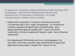 По данным Н.А.Аминова, среди учителей высшей категории 53% «сгоревших». При э