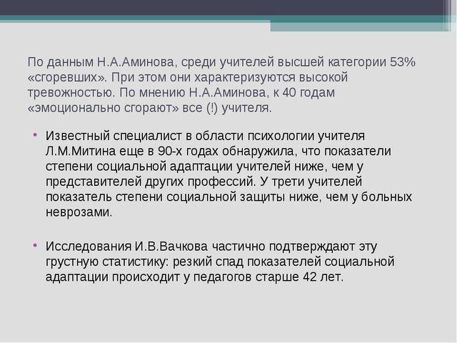 По данным Н.А.Аминова, среди учителей высшей категории 53% «сгоревших». При э...