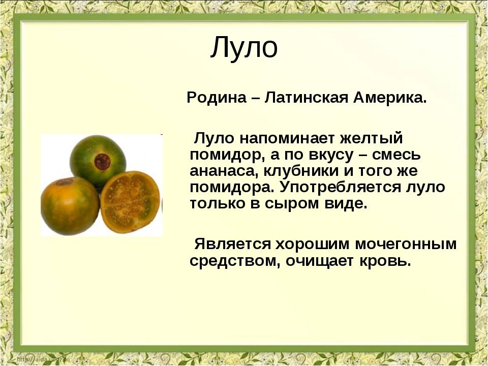 Луло Родина – Латинская Америка. Луло напоминает желтый помидор, а по вкусу –...
