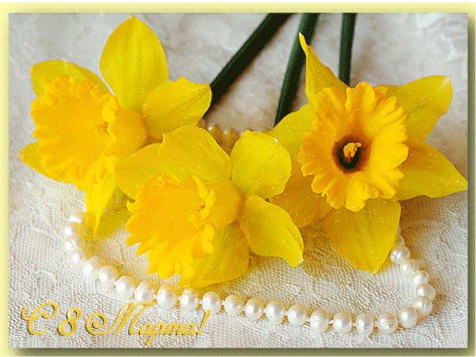 Открытка к 8 марта цветы нарциссы, дню рождения