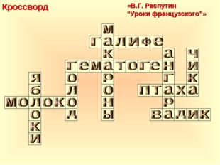 "Кроссворд «В.Г. Распутин ""Уроки французского""»"