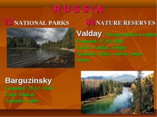 R U S S I A 23 NATIONAL PARKS 84 NATURE RESERVES Valday : Novgorodskaya regio