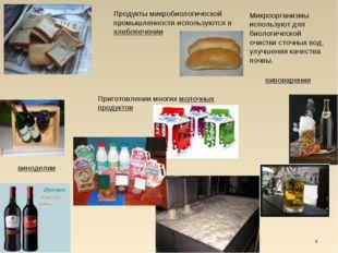 * Продукты микробиологической промышленности используются в хлебопечении пиво