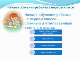 Начало обучения ребенка  в первом классе - сложный и ответственный этап в ег