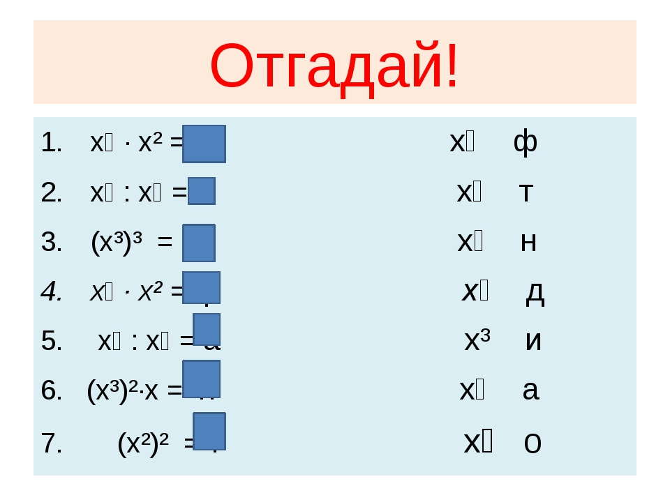 Отгадай! x⁴ · x² = Д x⁸ ф x⁸ : x⁵ = и x⁴ т (x³)³ = о x⁷ н x⁶ · x² = ф x⁶ д x⁹...