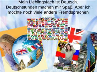 Mein Lieblingsfach ist Deutsch. Deutschstunden machen mir Spaβ. Aber ich möc