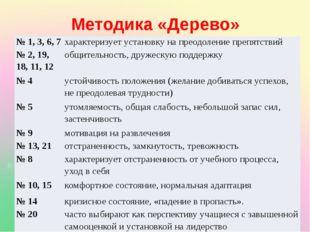 Методика «Дерево» № 1, 3, 6, 7 характеризует установку на преодоление препят