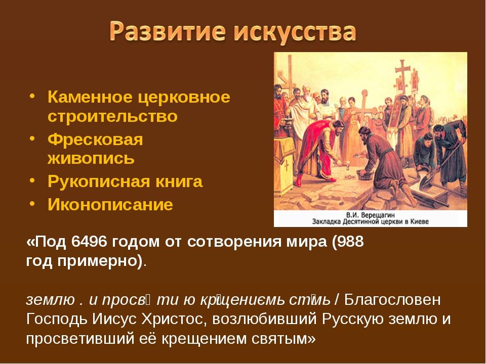 Каменное церковное строительство Фресковая живопись Рукописная книга Иконопис...