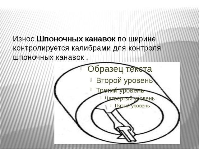 ИзносШпоночных канавокпо ширине контролируется калибрами для контроля шпон...