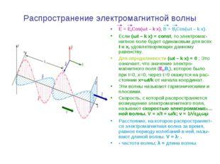 Распространение электромагнитной волны E = E0Cos(ωt – k x), B = B0Cos(ωt – k
