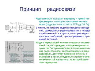 Принцип радиосвязи Радиосвязью называют передачу и прием ин-формации с помощь
