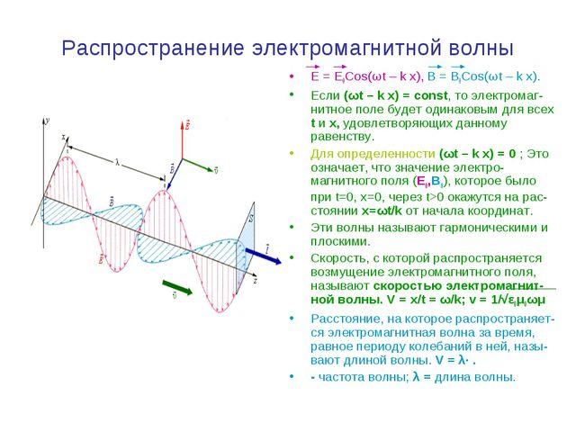 Распространение электромагнитной волны E = E0Cos(ωt – k x), B = B0Cos(ωt – k...