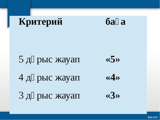 Критерий баға 5 дұрыс жауап «5» 4 дұрыс жауап «4» 3 дұрыс жауап «3»