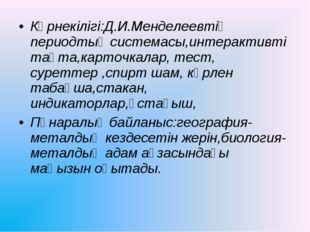 Көрнекілігі:Д.И.Менделеевтің периодтық системасы,интерактивті тақта,карточкал