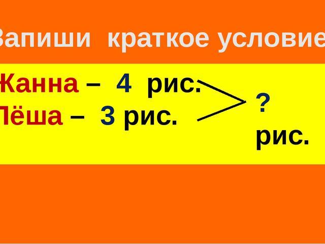 Запиши краткое условие ! Жанна – 4 рис. Лёша – 3 рис. ? рис.