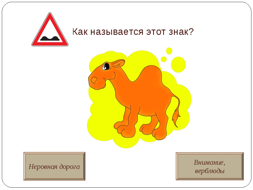 Как называется этот знак? Неровная дорога Внимание, верблюды