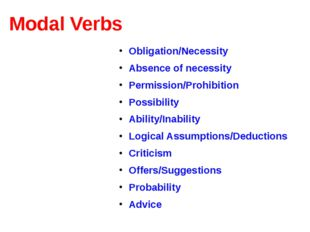 Modal Verbs Obligation/Necessity Absence of necessity Permission/Prohibition