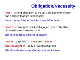 Obligation/Necessity must - strong obligation to do sth., the speaker himself