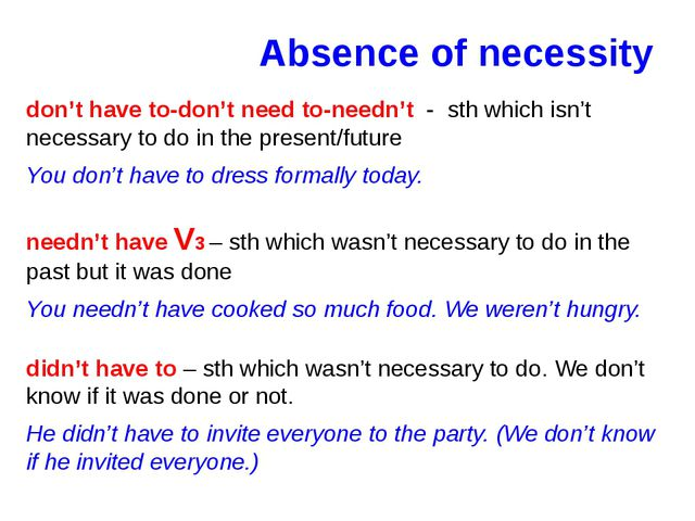 Absence of necessity don't have to-don't need to-needn't - sth which isn't ne...