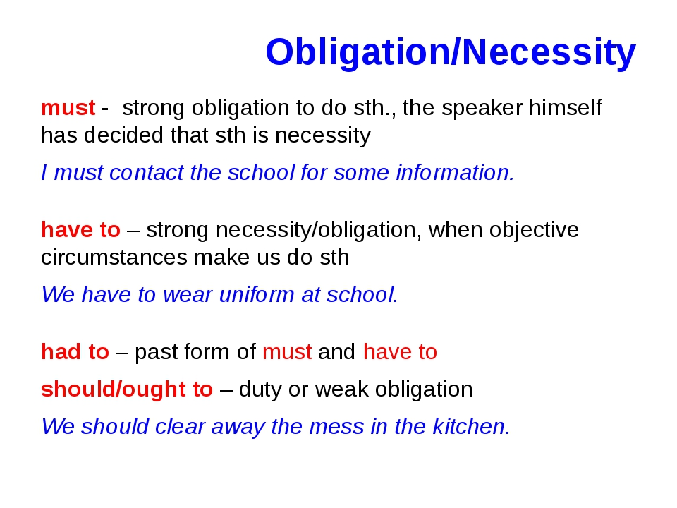 Obligation/Necessity must - strong obligation to do sth., the speaker himself...