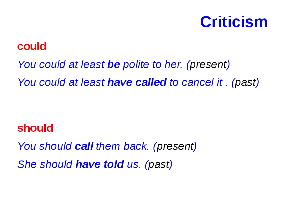 Criticism could You could at least be polite to her. (present) You could at l...