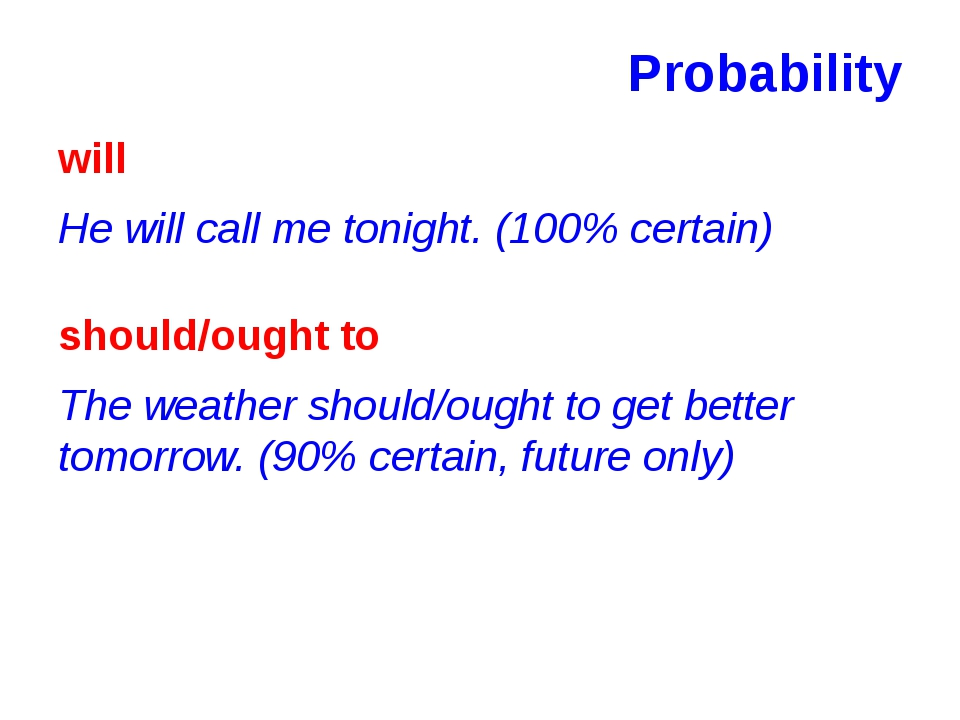 Probability will He will call me tonight. (100% certain) should/ought to The...
