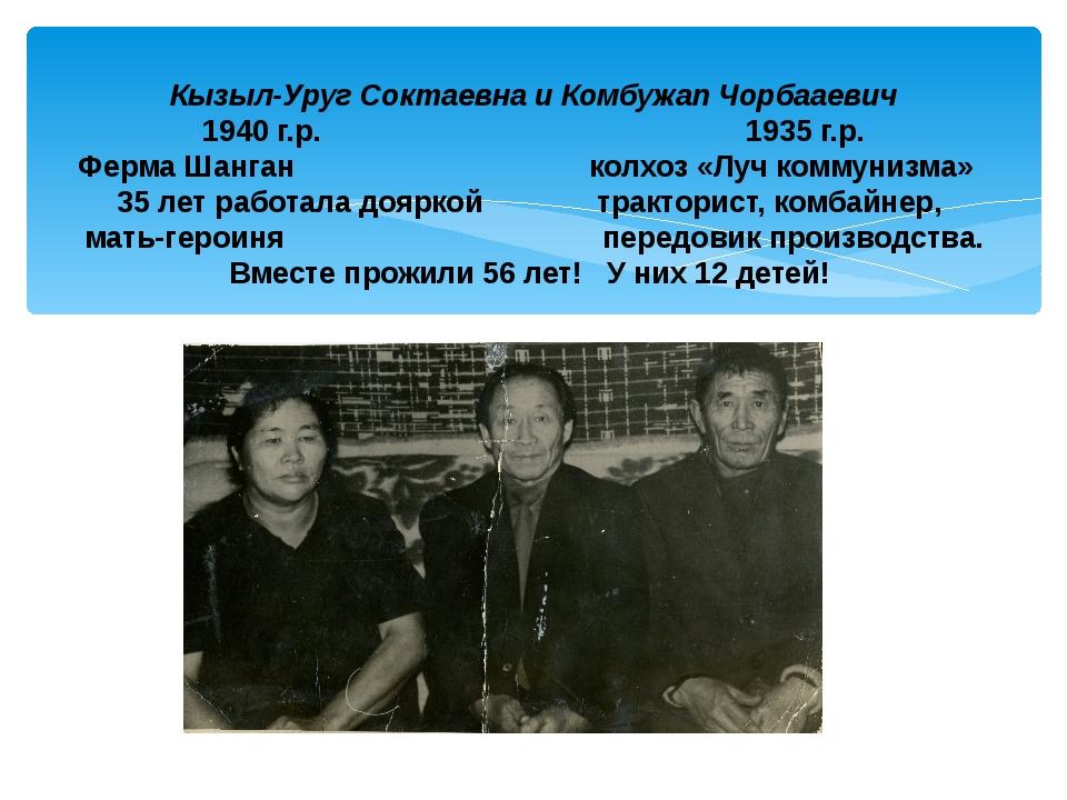 Кызыл-Уруг Соктаевна и Комбужап Чорбааевич 1940 г.р. 1935 г.р. Ферма Шанган...