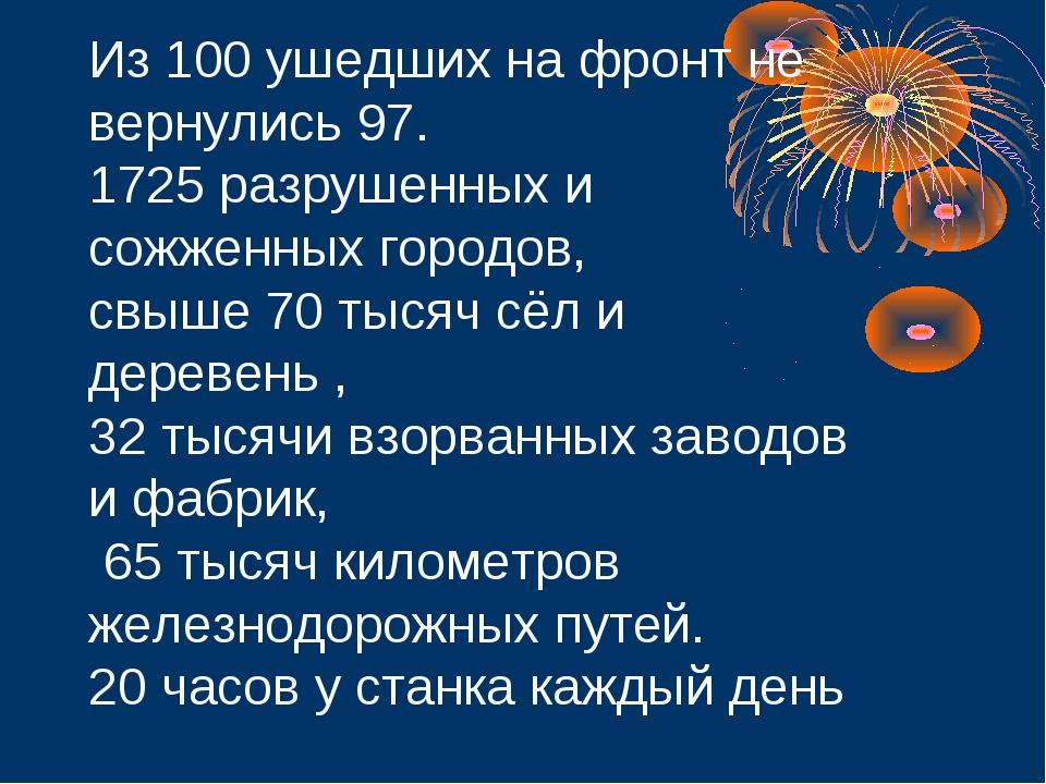Из 100 ушедших на фронт не вернулись 97. 1725 разрушенных и сожженных городов...