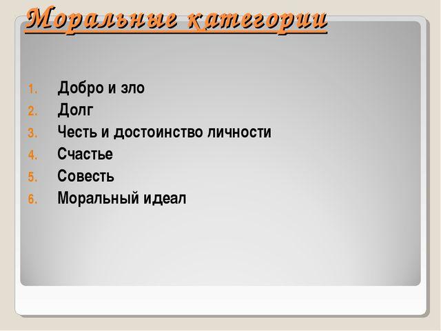 Моральные категории Добро и зло Долг Честь и достоинство личности Счастье Со...