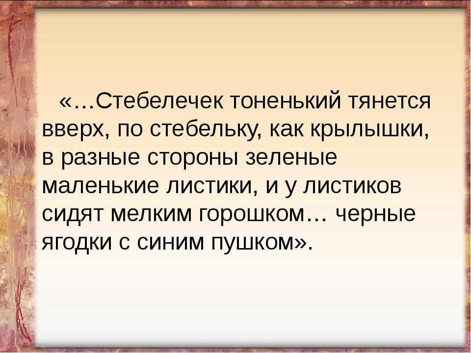 «…Стебелечек тоненький тянется вверх, по стебельку, как крылышки, в разные с...