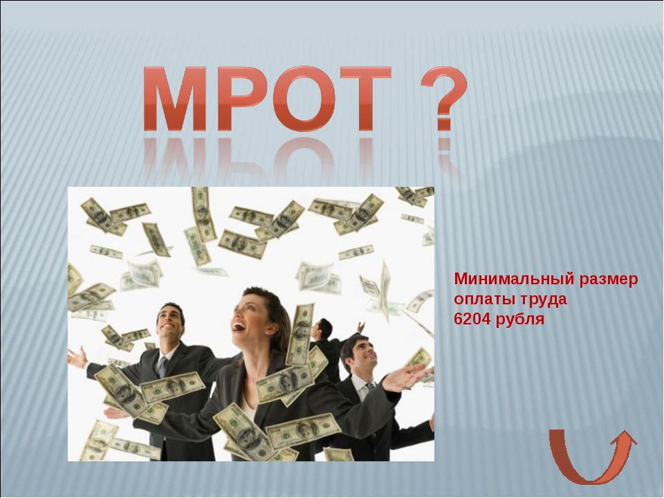Минимальный размер оплаты труда 6204 рубля