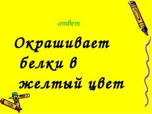 ответ Окрашивает белки в желтый цвет