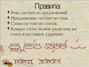 Правила: Речь состоит из предложений Предложение состоит из слов. Слова сост