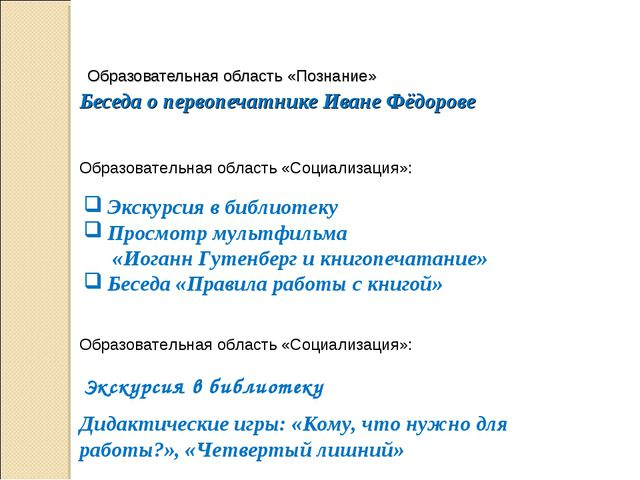 Образовательная область «Познание» Беседа о первопечатнике Иване Фёдорове Эк...