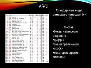 ASCII Стандартные коды: символы с номерами 0 – 127 Состав: буквы латинского а