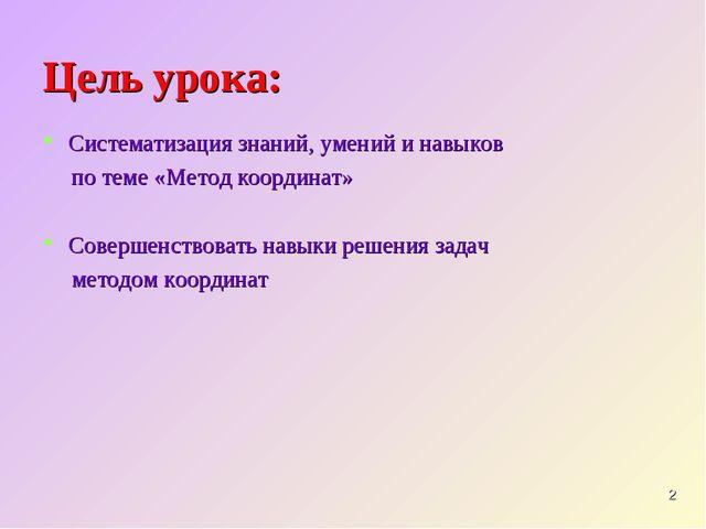 Цель урока: Систематизация знаний, умений и навыков по теме «Метод координат»...