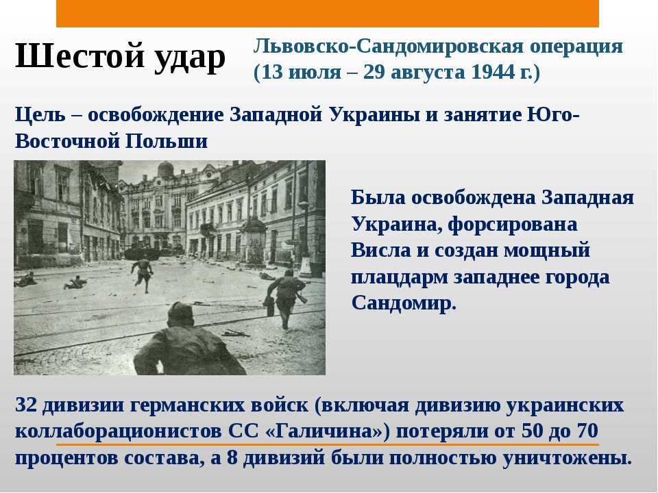 Шестой удар Львовско-Сандомировская операция (13 июля – 29 августа 1944 г.) Ц...
