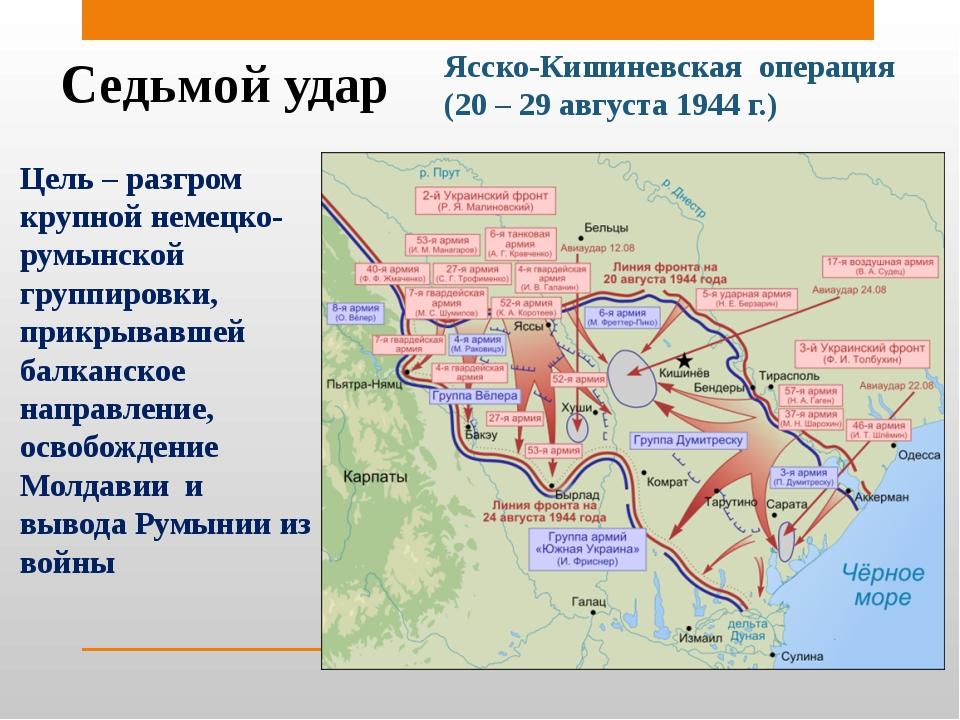 Седьмой удар Ясско-Кишиневская операция (20 – 29 августа 1944 г.) Цель – разг...
