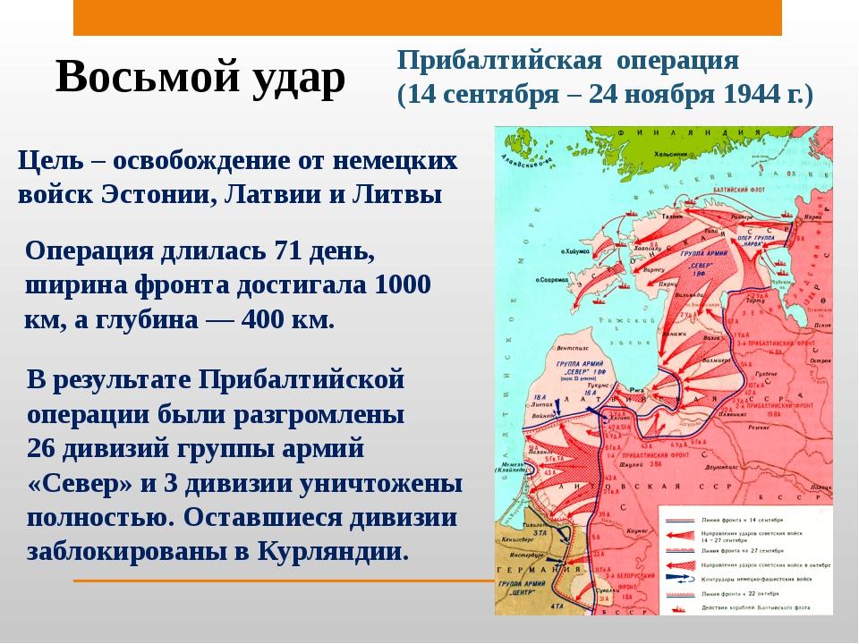 Восьмой удар Прибалтийская операция (14 сентября – 24 ноября 1944 г.) Цель –...